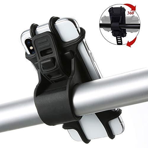 Fahrrad Handyhalterung, 360° Drehbare Silikon Verstellbarer Fahrradhalterung für Huawei, Samsung, iPhone & 4,5-7 Zoll Smartphone, Ideal für Mountainbike, Rennrad & Motorrad Handyhalter (Schwarz)