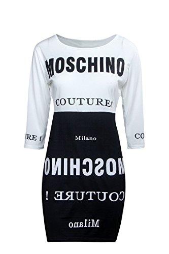 Nuovo Ladies, colore: nero e bianco con stampa Maglietta Dress Club Wear Summer Casual vestito da festa taglia XL UK 14