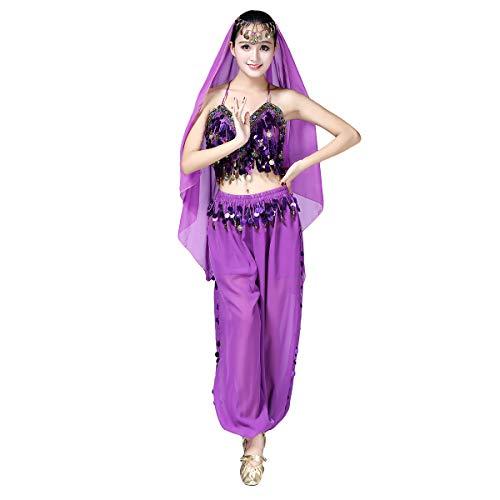 OBEEII Disfraz de Danza Arabe 3Piezas Traje de Danza de Vientre para Mujer para Actuación Carnaval Baile Oriental India Árabe Top Pantalones y Velo Cabeza Morado