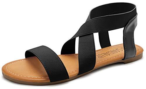 SANDALUP Damen Sandalen mit Gummiband, Schwarz, 40 EU