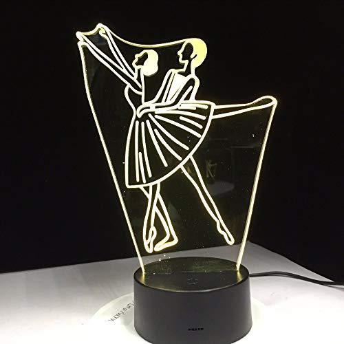 Dwthh Ballett Mädchen Männer Zeichen Acryl 3D Lampe Home Office Bettdekoration Schule Abschluss Geschenk
