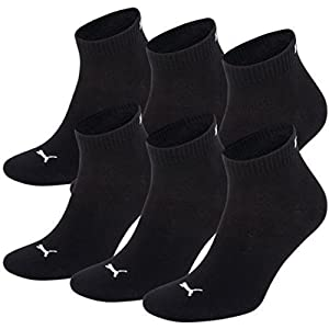 Unisex Quarters Socken Sportsocken 6er Pack (black / black 200, 47-49)