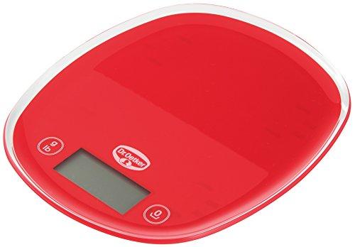 Dr. Oetker Digitale Backwaage 22cm, Küchenwaage mit großem und gut lesbarem Display, präzise Einteilung in 1g-Schritten, hoher Bedienkomfort durch Sensortasten, (Farbe: rot), Menge: 1 Stück