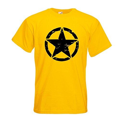KIWISTAR - United States Army Star T-Shirt in 15 verschiedenen Farben - Herren Funshirt bedruckt Design Sprüche Spruch Motive Oberteil Baumwolle Print Größe S M L XL XXL Gelb