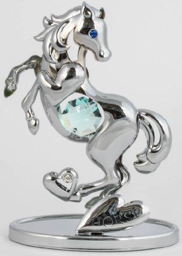 Cavallo figura/statua chrome placcato cristallo vetro made with swarovski elements