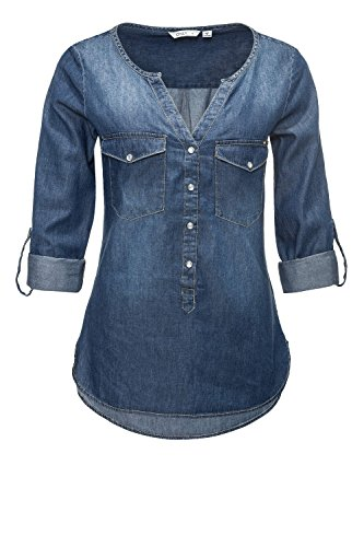 ONLY Damen Jeansbluse Hemdbluse Langarmbluse Tunika (XXL, Light Blue Denim)
