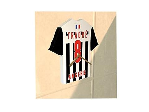 France Ligue 1 - Horloge murale en forme de T-shirt de foot– Personnalisation gratuite: n'importe quel nom, numéro, équipe!! (Angers SCO)