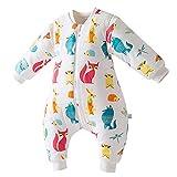 HAPPY CHERRY Kleinkind Unisex Winter Babyschlafsack Abnehmbare Ärmel Kugelschlafsack Cartoon Muster Jumpsuit mit Reißverschluss