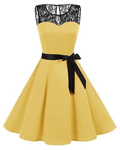 bbonlinedress 1950er Ärmellos Vintage Retro Spitzenkleid Rundhals Abendkleid Yellow 3XL