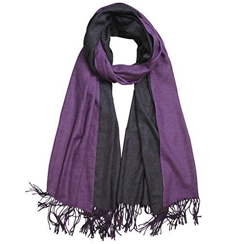 (SOJOS Beidseitig Farbig Reversible Kaschmir Wolle Damen Schal Schals Poncho SC302, Lila & Grau, L)