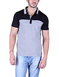 Vivid Bharti Men's Check Black Grey Cotton 2 Color Half Sleeve T-Shirt (Premium Quality T-Shirt)