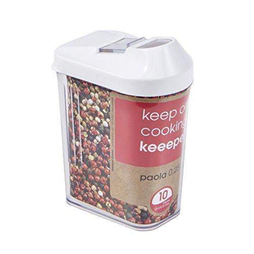 keeeper Contenitore per Alimenti Sfusi Coperchio Dosatore Regolabile Plastica priva di BPA 250 ml 65 x 4 x 12 Paola Bianco