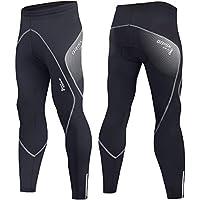 Pantalón térmico para entrenamiento en bicicleta, estilo legging, para hombre, con acolchado Coolmax y tejido italiano