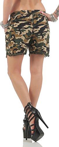 malito Pantalon été Camouflage Design Hot Pant Short CR-1203 Femme Beige