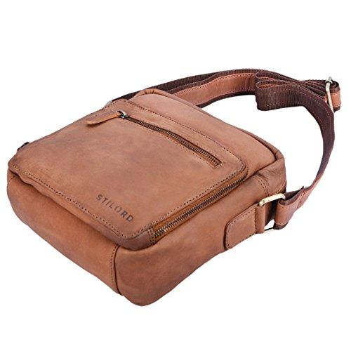 STILORD 'Nathan' Borsello da Uomo a tracolla in pelle Piccola borsa messenger in Cuoio a Spalla per Viaggi Escursioni, Colore:cognac marrone scuro sella - marrone