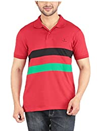 Yukth Mens Striped Cut & Sew Polo T-shirt Red
