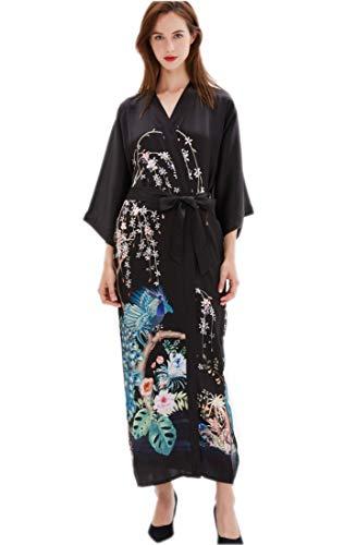 7cd0e61d0d Prettystern - Camicia da Notte Kimono in Seta 100% Con Motivo a Fiori,  Pavimento