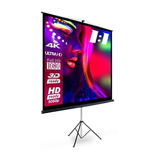 eSmart Basics Stativ-Leinwand [Größenauswahl] 200 x 200 cm | Format 1:1 | Vollmaskierung | Heimkino Beamer Projektionsleinwand Stativ Leinwand LCD LED