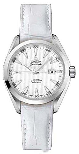 Omega Seamaster Aqua Terra Luxus Damen Automatik Uhr mit Perlmutt Zifferblatt Analog-Anzeige und Weiß Lederband 23113342004001
