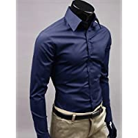 HAN-NMC Hombres Manga Larga Camiseta, Trabajo/Formal, 2 x l, Navy Blue
