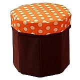 ZOE Faltstool Speicherplatz für Kids Toys Storage Stool Box Creative Multifunktionale Leben-Goods Storage Stool Octagonal Faltspeicher Box,Orange