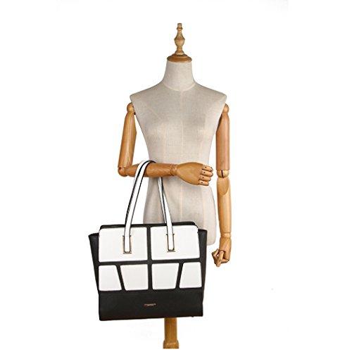 LeahWard Frauen Große Größen Schultertaschen Shopper Bag Handtaschen für Frauen 00275 (Fuchsia Bogenbeutel) Schwarz/Weiß Schultertasche