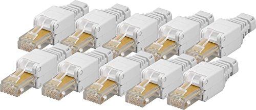 Preisvergleich Produktbild 10x werkzeugfreier CAT5e RJ45 Netzwerk-Stecker für Gigabit Ethernet LAN für einfaches Anschließen ohne Werkzeug