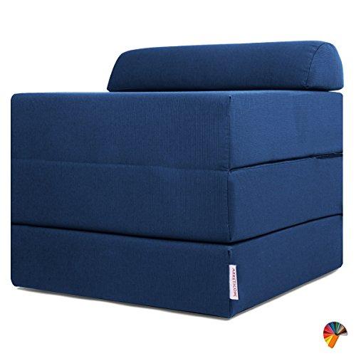Arketicom sleeping cube pouf letto design pieghevole sfoderabile blu azzurro