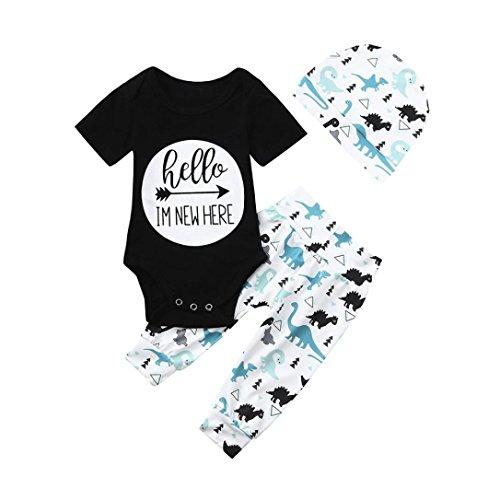 QinMM 3pcs Infant Outfits Kleidung Set Baby Dinosaurier Brief Mädchen Jungen Strampler + Pants + Hut Cute Outfit Drucken Schwarz 6M-24M (6M, Schwarz) -