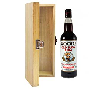 700ml Woods Old Navy Strength Rum in Hinged Wooden Gift Box