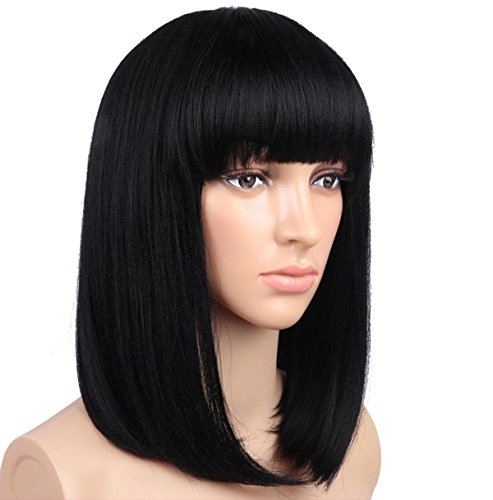 SHKY Schwarzes gerades Haar Hohe Dichte Hitzebeständiges Synthetisches Haar Weben Voll Perücken Für Frauen BOBO Kopf , 1b/ black black Haar Weben Net Bulk