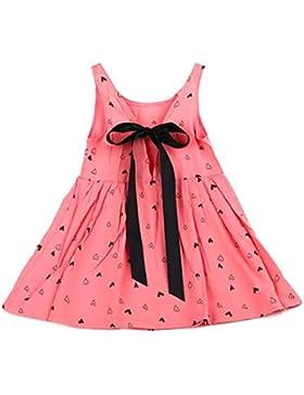 Amlaiworld Baby Kid Girls ärmellose einteiliges Kleid Print Bowknot Tutu Kleid
