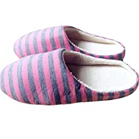 bismarckbeer® Striped Men Women Winter Slippers Warm Indoor Home Fluffy Slippers Shoes