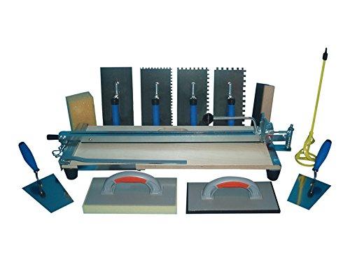 Profi Fliesenschneider 630 mm Schnittlänge und Fliesenleger Werkzeuge + Gratis Winkel für Diagonalschnitte