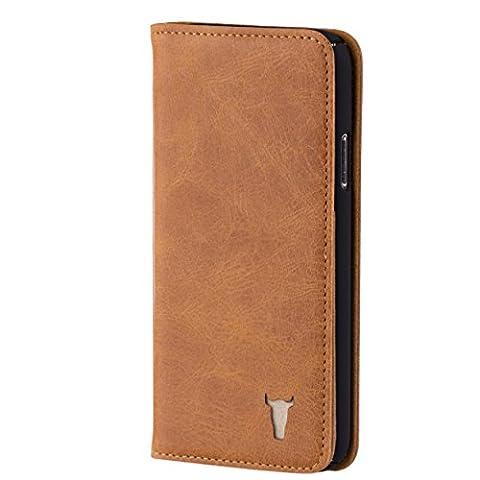 iPhone X Ledertasche / Hülle. Echtes, hochwertiges Leder mit Standfunktion und Bargeld- / Visitenkartenslot, Hellbraun, von TORRO