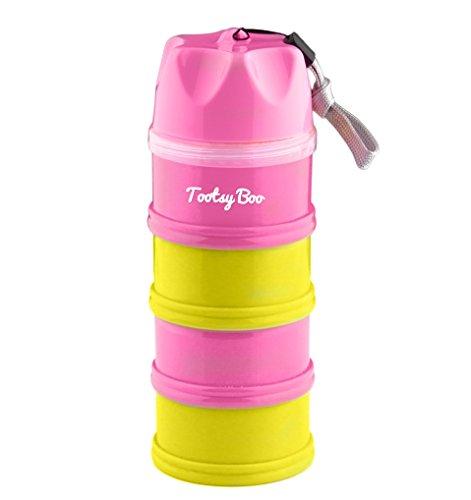 Tootsy Boo Milchpulver-Portionierer und Snackdosen; für bis zu 4 Portionen; perfekte Trennung des Milchpulvers; lässt sich einfach am Buggygriff befestigen; einfaches Trichter-Portioniersystem; sicherer Schraubdeckel; ideal für unterwegs und zu Hause; viele Funktionen: Snackdosen, Babyschüssel, Schnuller- und Stillhütchenbehälter