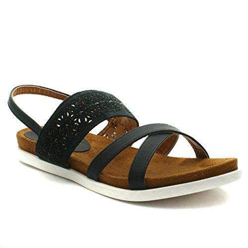 DW172 Divinas Barcelona Sandal Flat for Ladies >     > Sandale avec semelle plate pour les dames Black (noir)