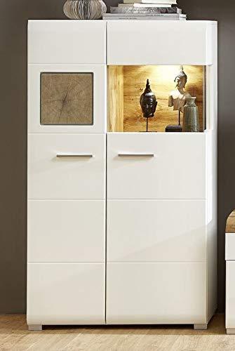 Wohnwand Eiche Altholz – Wohnzimmer Set Weiß / Eiche Altholz - 3