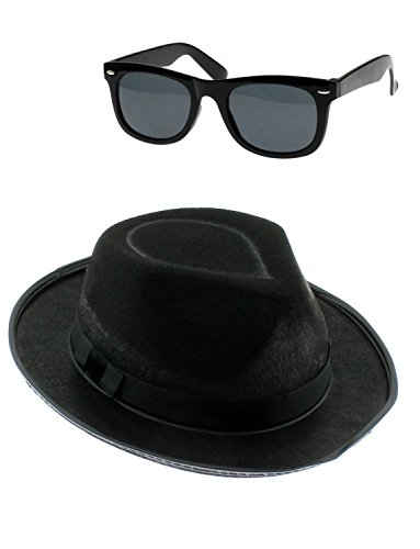 UNISEX BLUES BAND HAT AND GLASSES SET AMERICAN BAND STAG NIGHT FANCY PARTY DRESS#Glasses & Hat Set~One Size