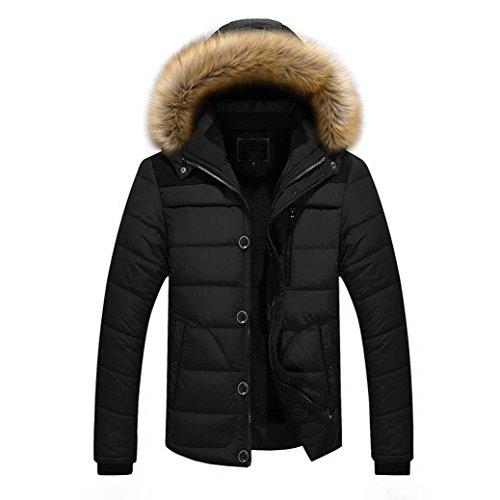 Mamum mens pesante cappuccio di pelliccia parka imbottito invernale impermeabile giacca spessa più cappotto di pelliccia con cappuccio giacca kaki nero nero xxl