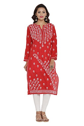 ADA Hand Embroidered Lucknow Chikan Womens Casual Cotton Kurta (A207995_Red)