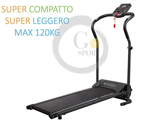 Go sport tapis roulant elettrico pieghevole salvaspazio dispaly a led 2,5 hp picco - ideale per allenamento a casa sensore cardiaco