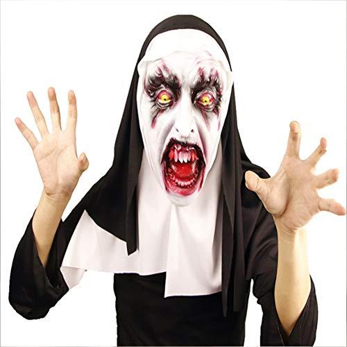TYJH Halloween Horror Nonne Maske Latex Unheimlich Erschrockene Weibliche Geist Gesicht Ordentlich Party Liefert (Unheimlich Halloween-gesichter Weiblich)
