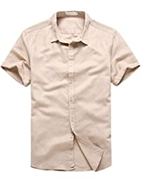 Cookieslove Herren Leinenhemd Sommer Kurzarm Slim Fit Freizeithemd Hemden  Bluse Casual Leicht Oberteil Lässig Beach Shirts Business… f484196264