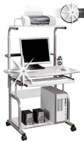 SixBros. Rollbarer Computerschreibtisch Hochglanz Weiß - CT-7800/1297