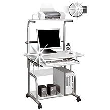 SixBros. Mesa de ordenador giratoria lustre blanco - CT-7800/1297
