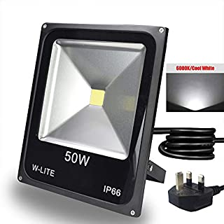 50W Led Outdoor Flood Lights Garden, Waterproof Outside Floodlights Fitting for Garden/Yard/Lawn/Patio/Porch, Aluminum, 6000K Soft Daylight (with UK 3-Plug)