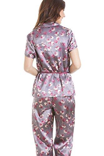 Pyjama avec ceinture et haut à manches courtes - imprimé floral violet - satin Violet