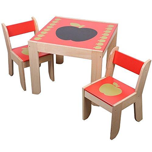 OUBO® Kinder Sitzgruppe Kindersitzgruppe 3-tlg., 1 Tisch mit 2 Stühlen aus Holz, kinderfreundliche Lackierung, Tisch: 60(L) x 60(B) x 50(H) cm, Farbe: Rot, Design: (1990 Kostüme Best)