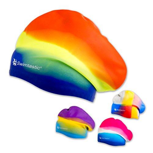 Swimtastic langes Haar, gebatikt Swim Cap, regenbogenfarben